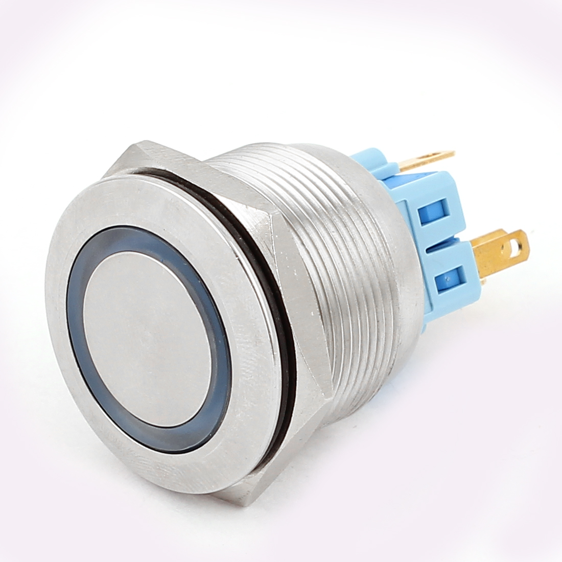 DC 12V 20mm Blue LED Light 25mm Mounted Thread 6 Pins DPST NO/NC Momentary Push Button Switch