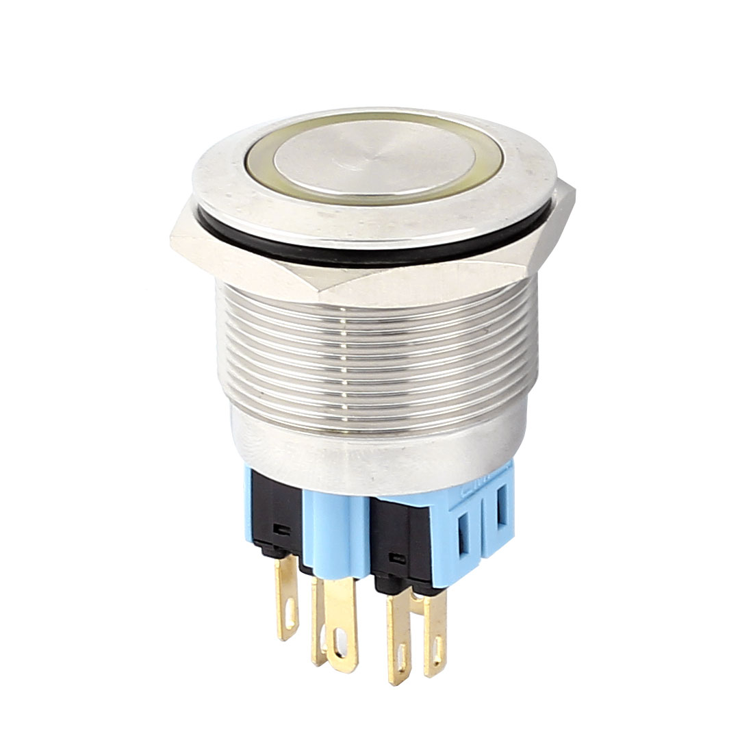 DC 12V 20mm Yellow LED Light 25mm Mounted Thread 6 Pins DPST NO/NC Latching Push Button Swith