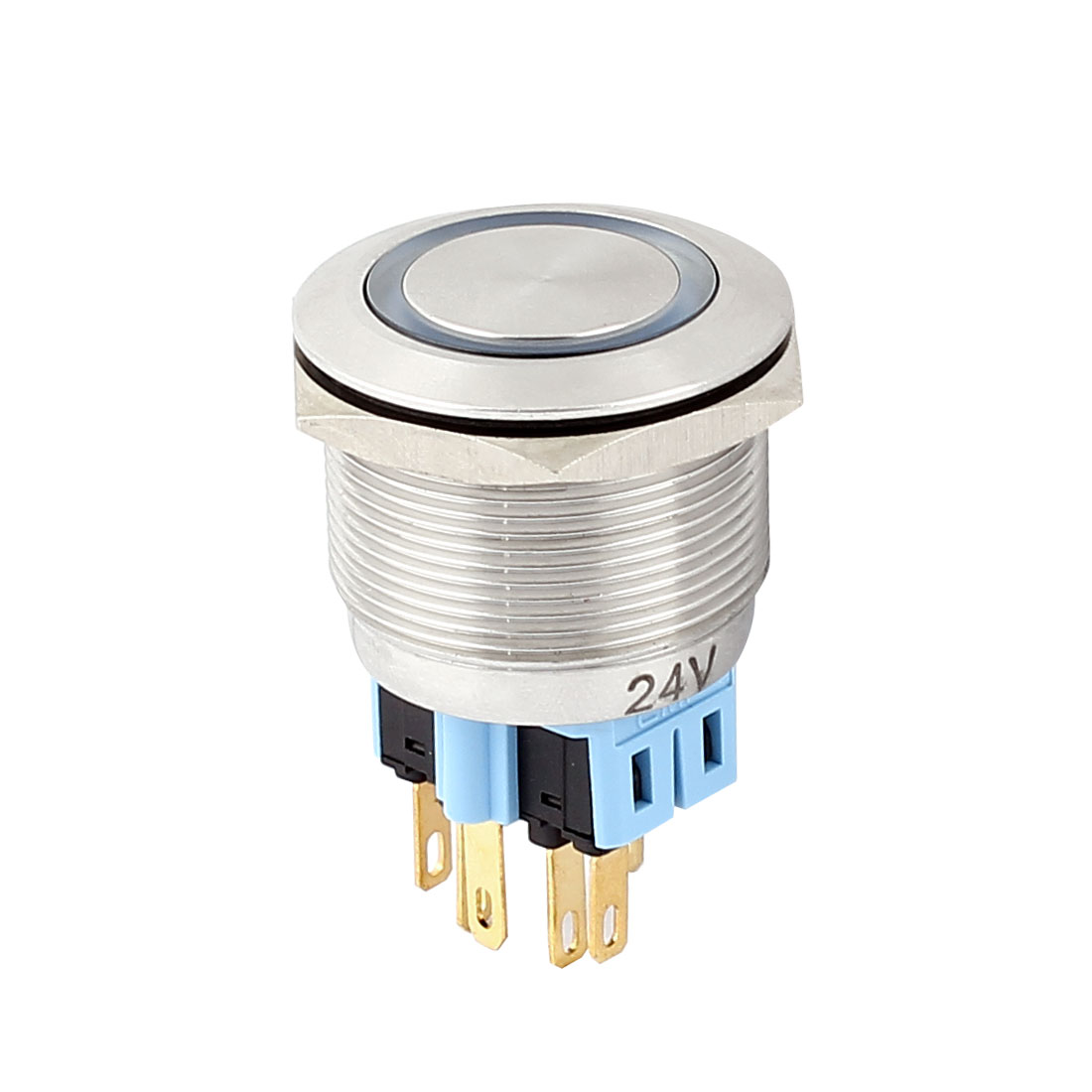 DC 24V 20mm Blue LED Light 25mm Mounted Thread 6 Pins DPST NO/NC Momentary Push Button Switch