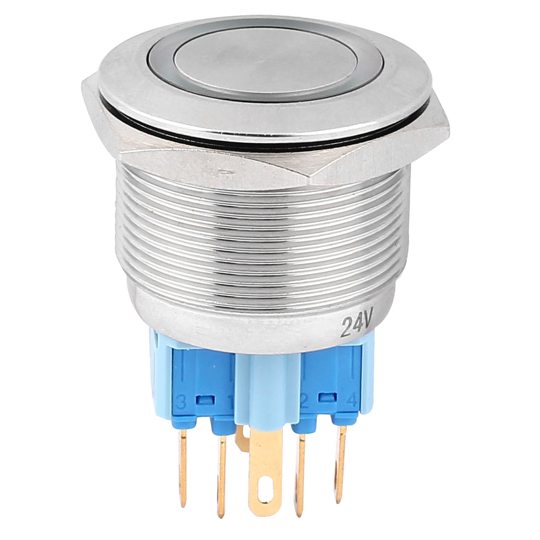 DC 24V 20mm Green LED Light 25mm Mounted Thread 6 Pins DPST NO/NC Momentary Push Button Switch