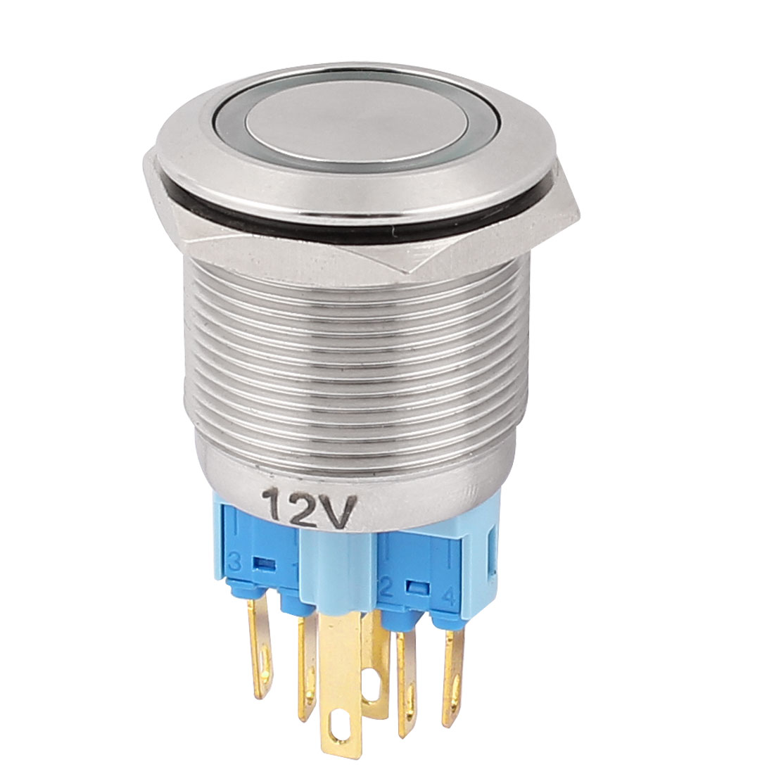 DC 12V 18mm Green LED Light 22mm Mounted Thread 6 Pins DPST NO/NC Latching Push Button Switch