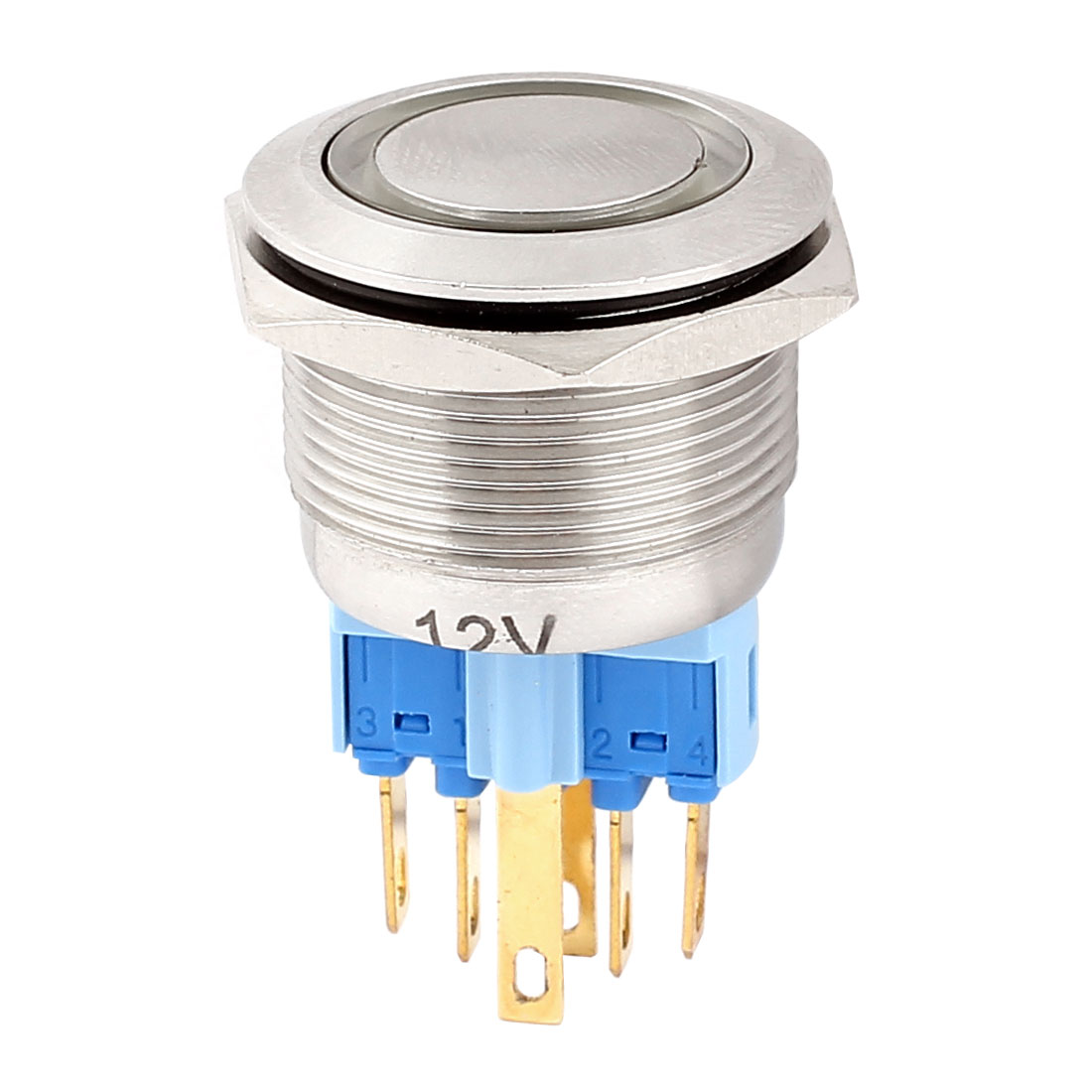 DC 12V Yellow LED Light 22mm Mounted Thread 6 Pins DPST NO/NC Momentary Push Button Switch