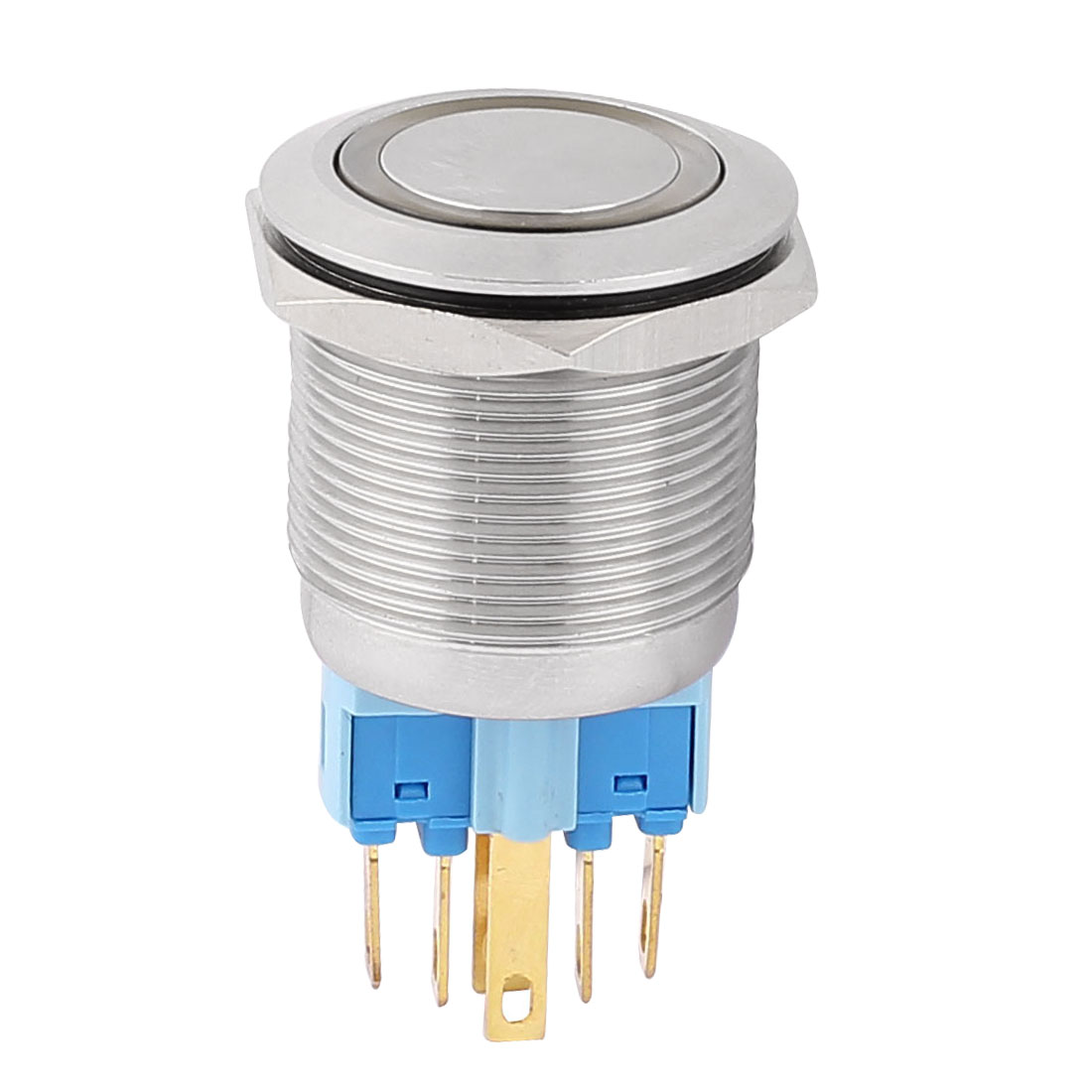 AC 220V 18mm Yellow LED Light 22mm Mounted Thread 6 Pins DPST NO/NC Latching Push Button Switch