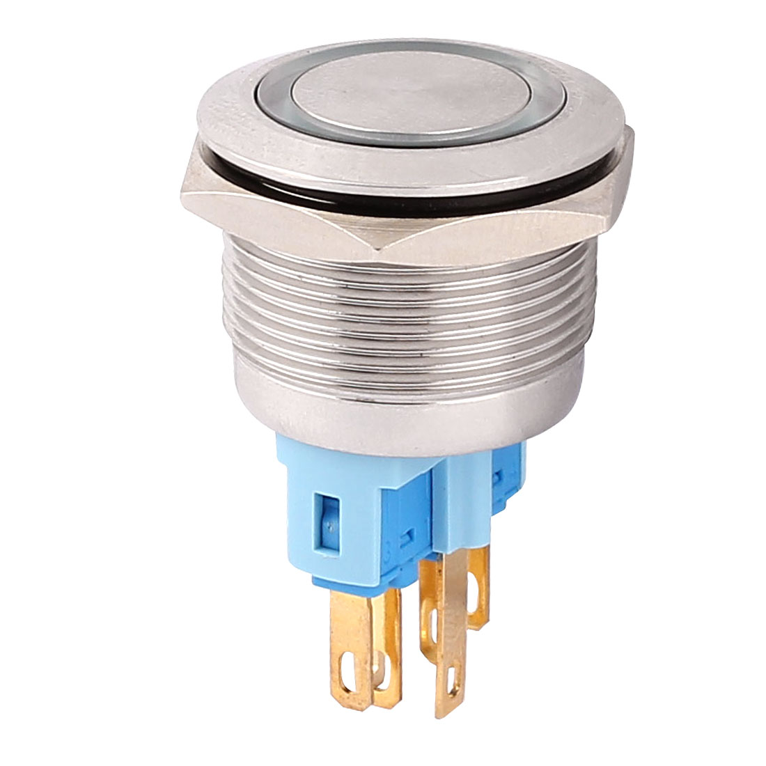 DC 24V Green LED Light 22mm Mounted Thread 6 Pins DPST NO/NC Momentary Push Button Switch