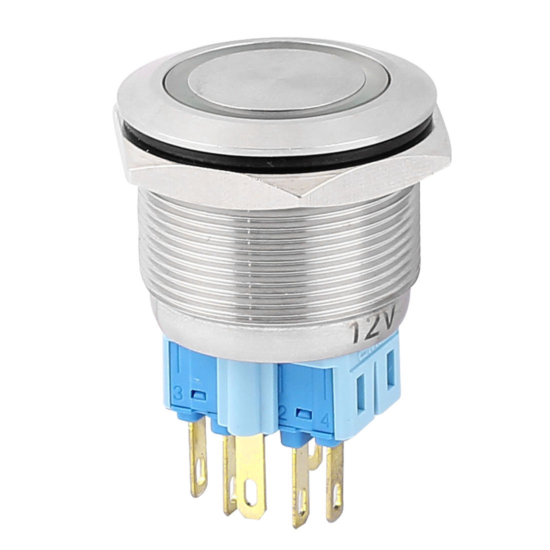 DC 12V 20mm Green LED Light 25mm Mounted Thread 6 Pins DPST NO/NC Momentary Push Button Switch