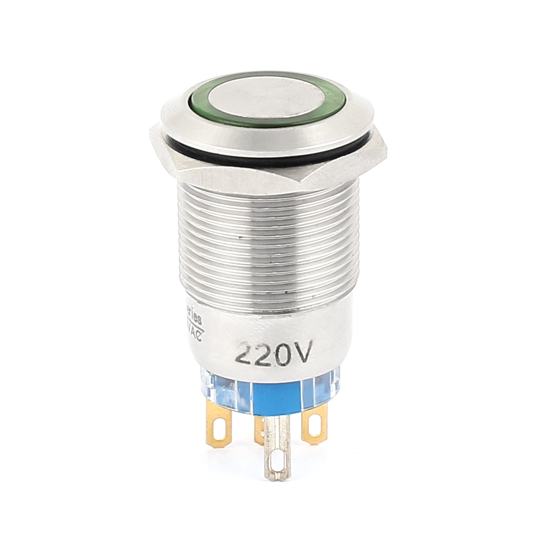 AC 220V 16mm Green LED Light 19mm Mounted Thread 5Pins SPDT NO/NC Flat Head Momentary Push Button Switch