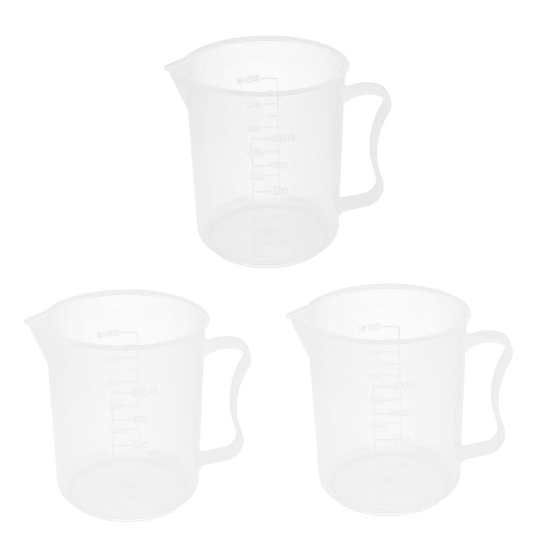 3 Pcs School Laboratory Plastic Water Liquid Container Measuring Beaker 500ml