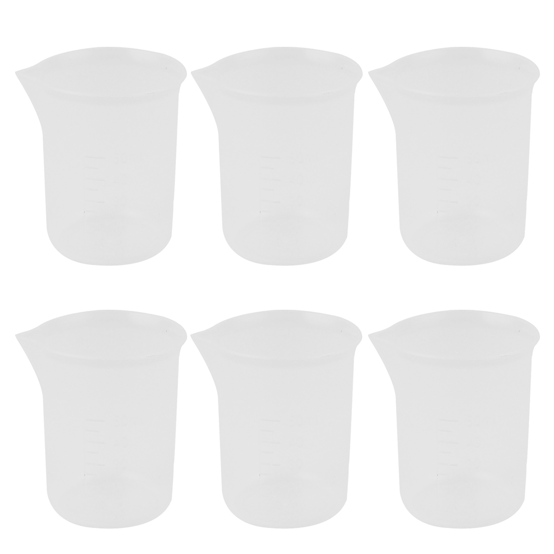 6 Pcs School Lab Plastic Liquid Container Measuring Testing Beaker 50mL Capacity