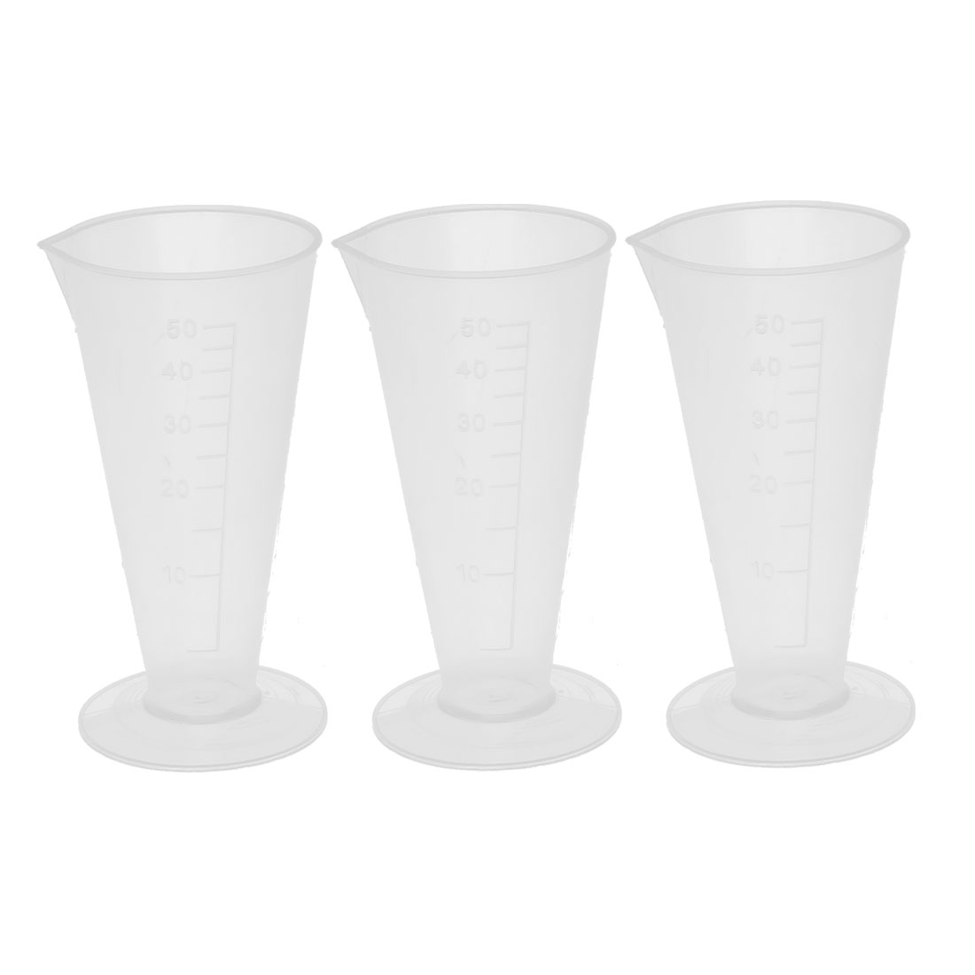 3 Pcs 50mL Clear White Plastic Conical Beaker Laboratory Graduated Measuring Cylinder Cup