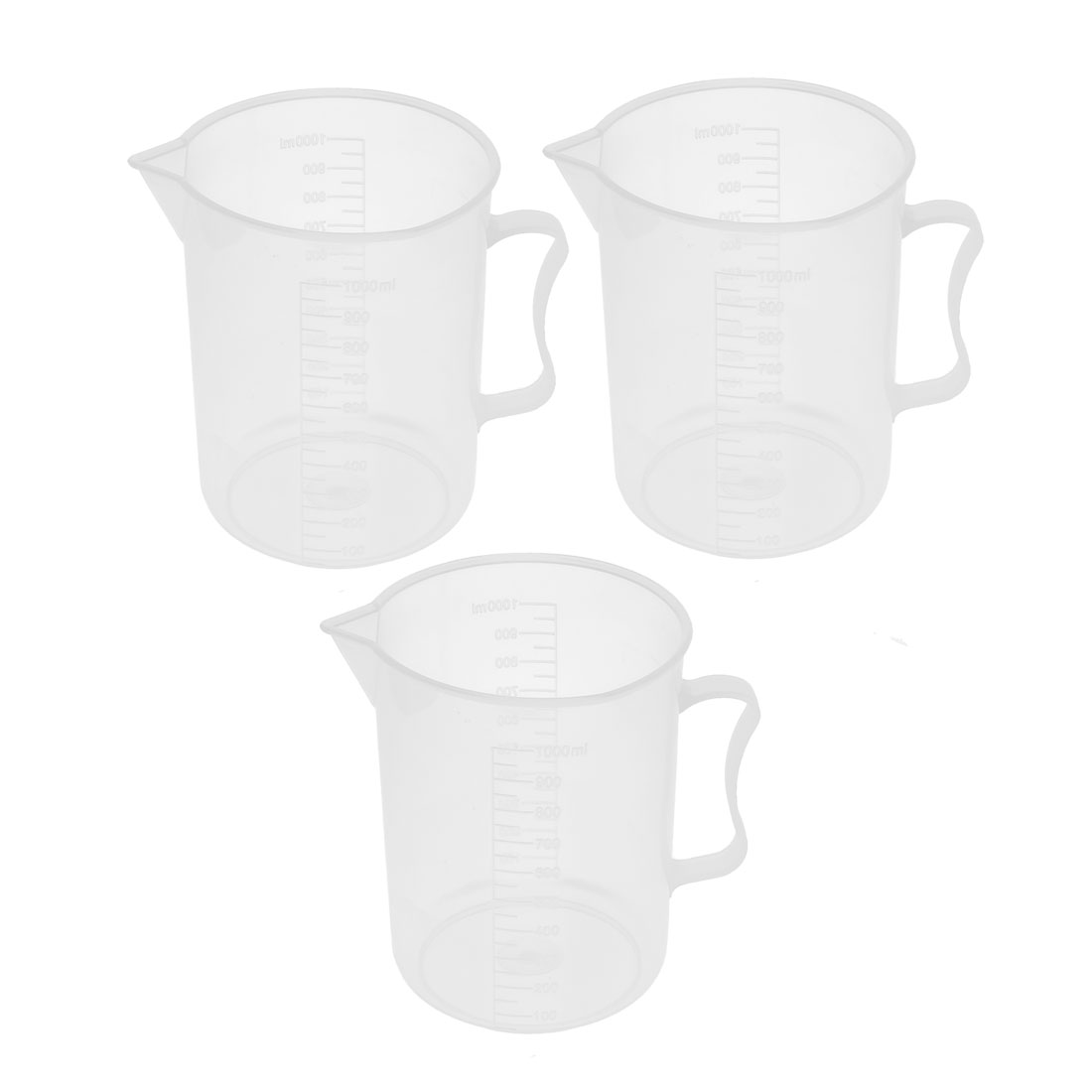 3 Pcs School Lab Plastic Water Liquid Container Measuring Testing Beaker 1000ml