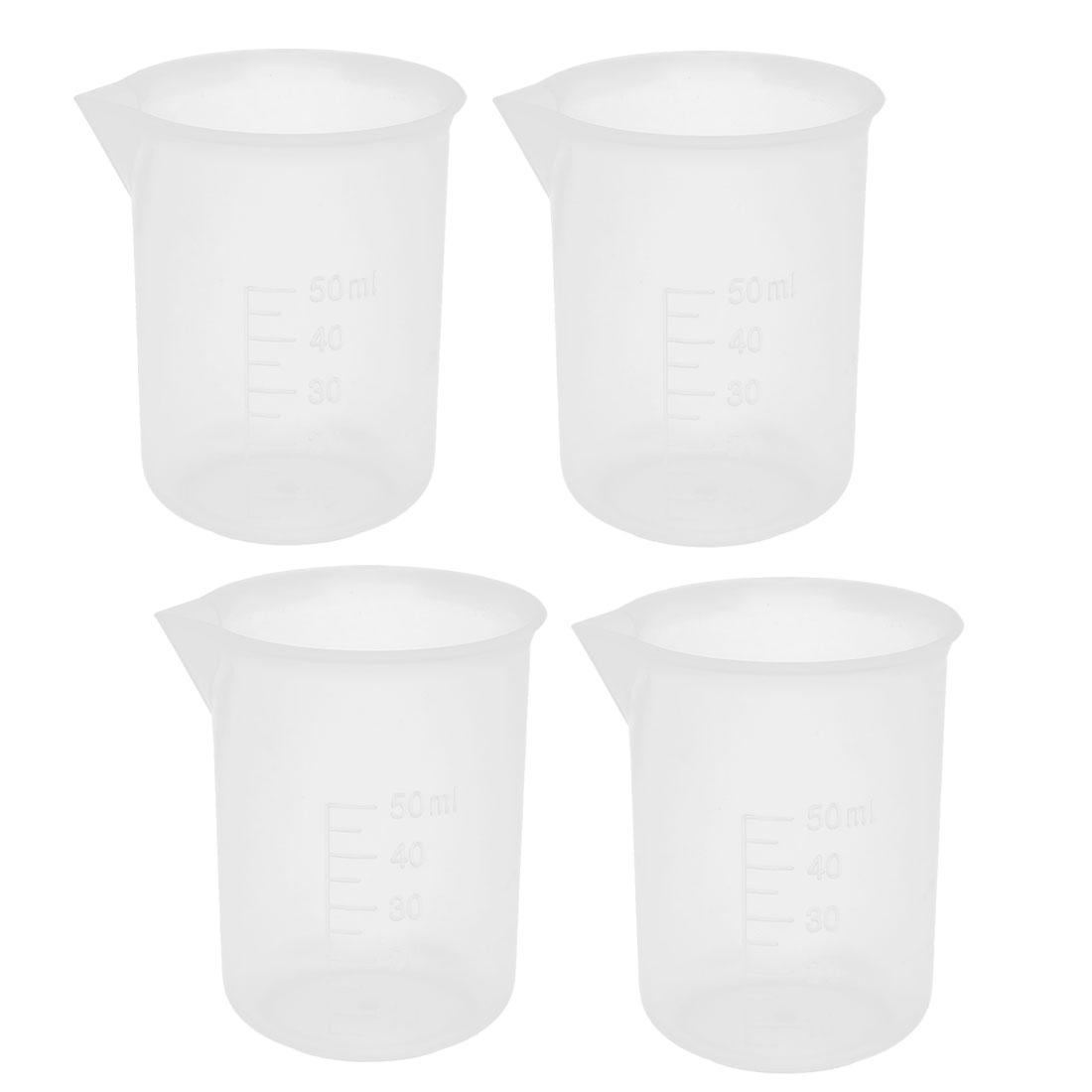 4 Pcs School Lab Plastic Liquid Container Measuring Testing Beaker 50mL Capacity