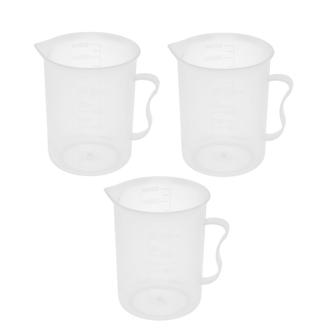 3 Pcs School Lab Plastic Water Liquid Container Measuring Beaker 300mL