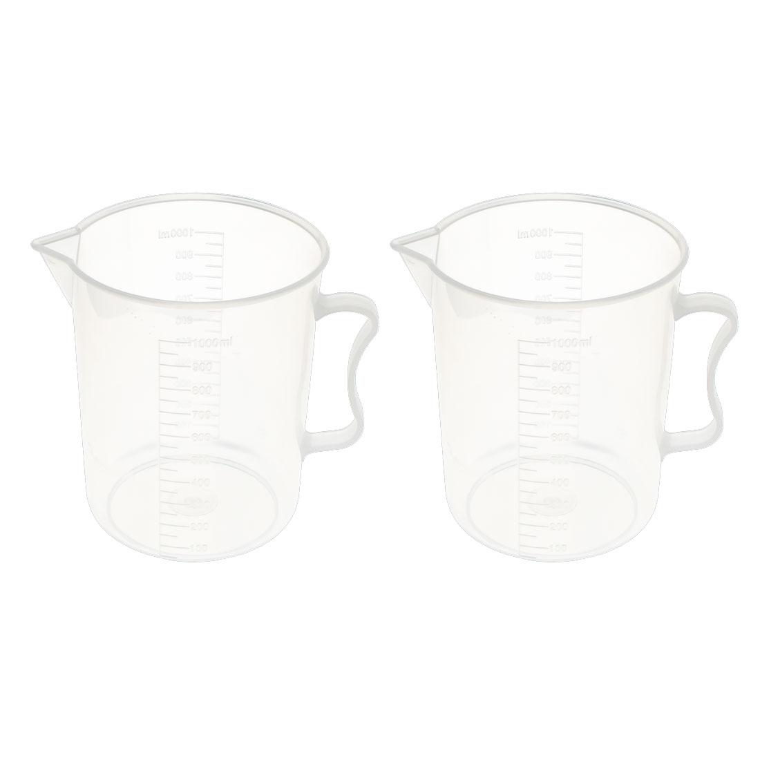 2 Pcs School Laboratory Plastic Water Liquid Container Measuring Beaker 1000ml