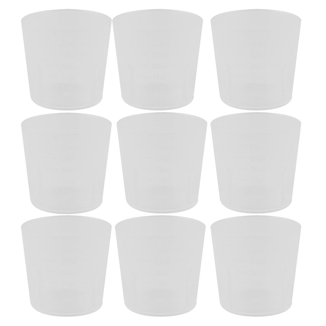 9 Pcs School Lab Plastic Liquid Container Measuring Testing Beaker 30mL Capacity