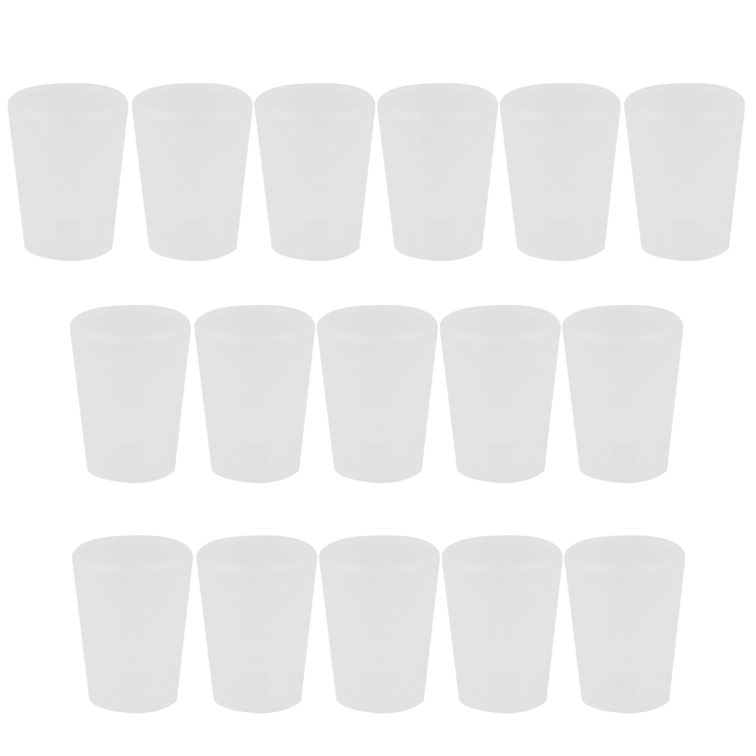 16pcs School Lab Plastic Liquid Container Measuring Testing Beaker 50mL Capacity
