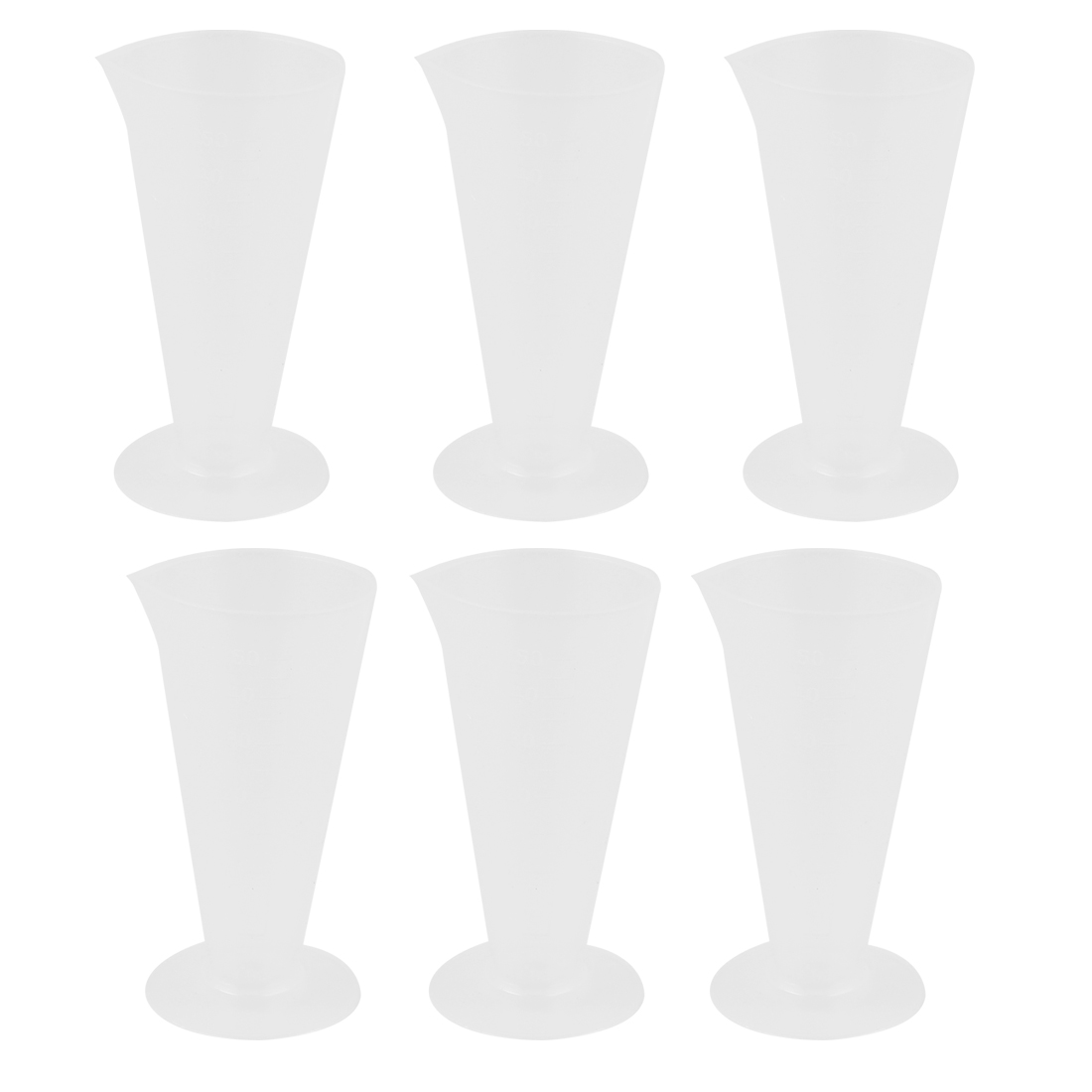 6 Pcs 50mL Clear White Plastic Conical Beaker Laboratory Graduated Measuring Cylinder Cup