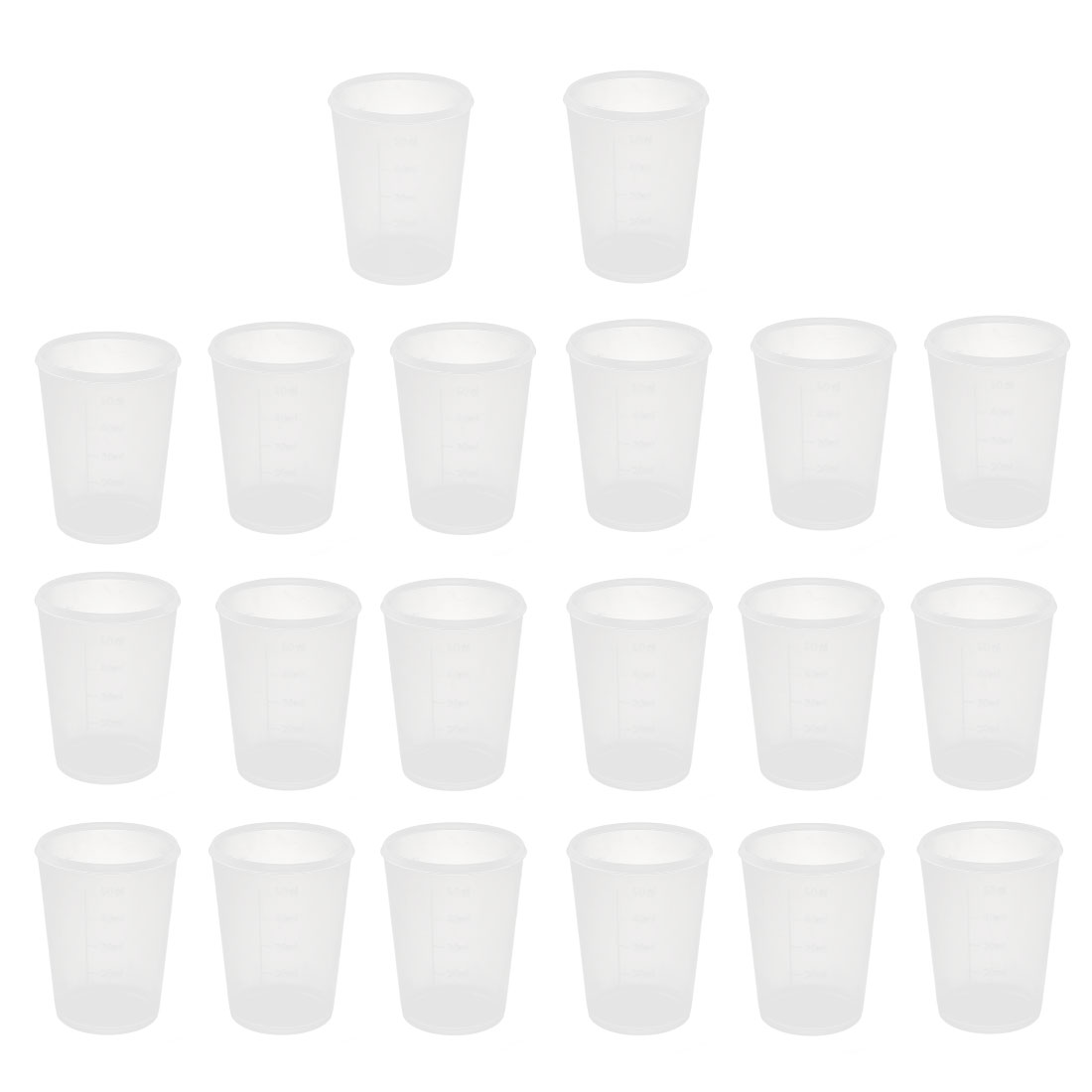 20pcs School Lab Plastic Liquid Container Measuring Testing Beaker 50mL Capacity