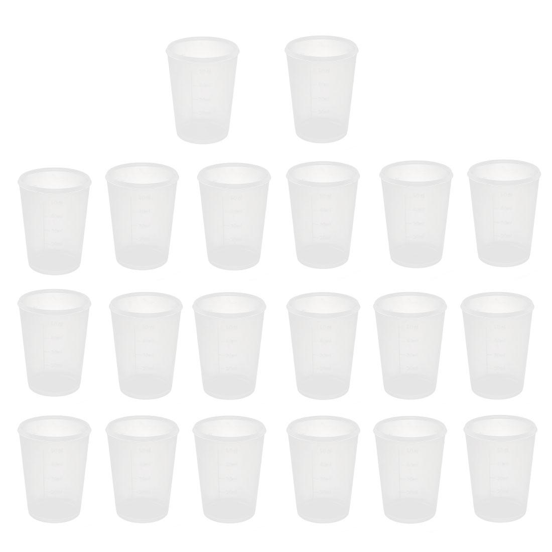 20pcs School Lab Plastic Liquid Container Measuring Testing Beaker 50mL Capacity