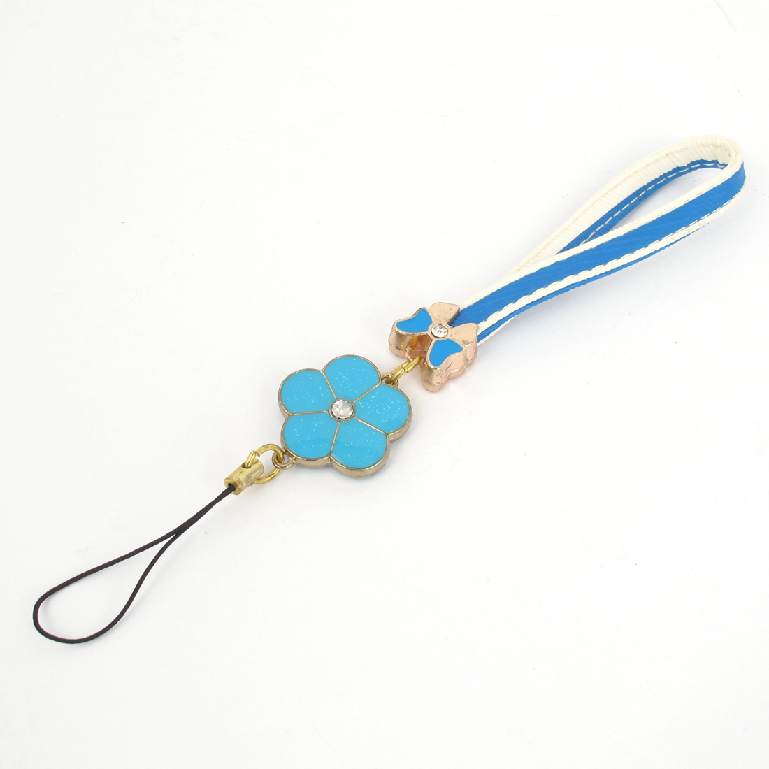 Blue Clover Pendant Wrist Strap Lanyard for Camera Cell Phone USB Mp3 Mp4