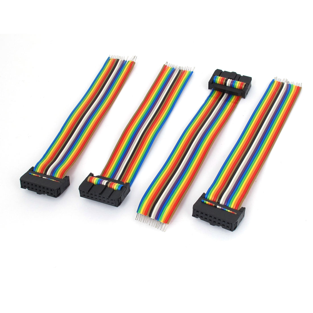 4pcs 16Pin 16 Wires Flat IDC Ribbon Cable Conductor Rainbow Color