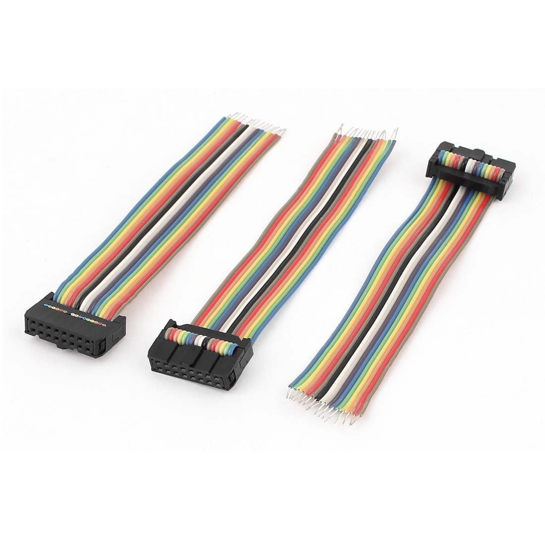 3pcs 16Pin Female Flat IDC Ribbon Cable Connector Rainbow Color