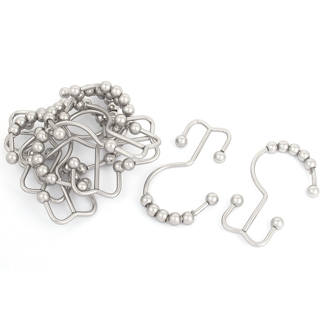 Metal Ball Bead Double Glide Shower Bathroom Curtain Ring Hooks 10pcs