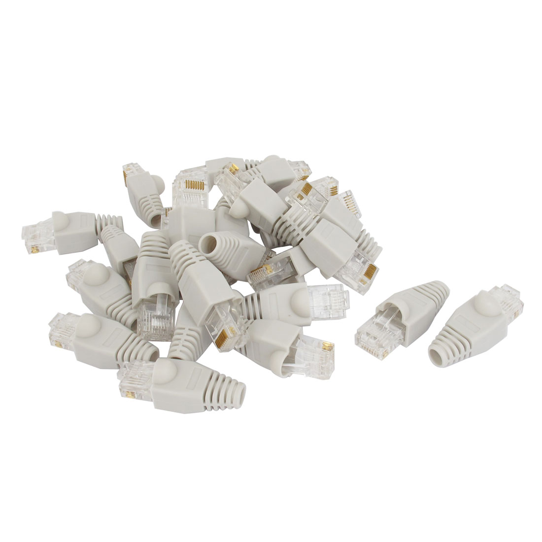 Network Modular Cable Lan RJ45 8P8C Connector End Gray 26pcs