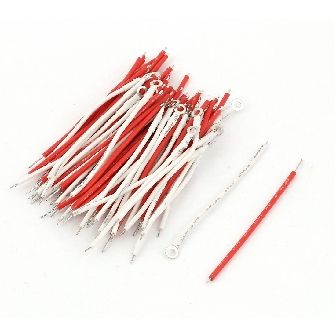 80Pcs 26AWG 3KV 6cm Long Tin Plated Lead Wire Cable Red White