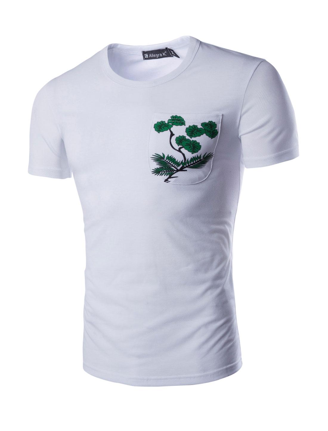 Men Plants Print Detail One Chest Pocket T-shirt White M
