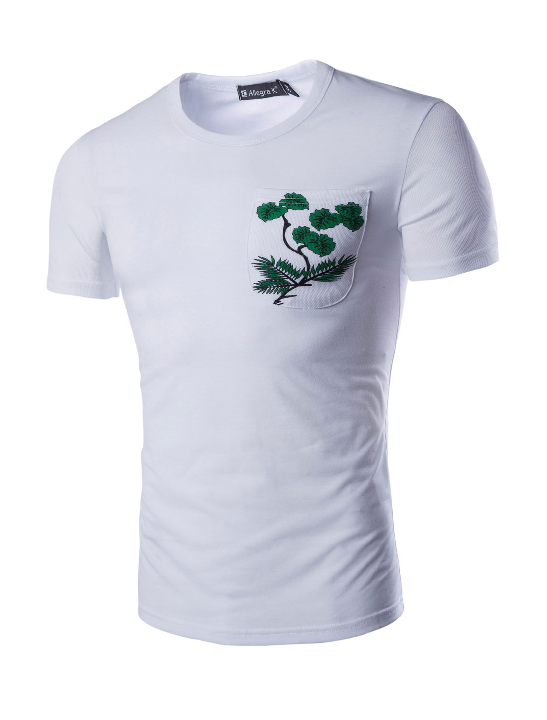 Men Crew Neck Short Sleeves Plants Printed Detail Leisure T-shirt White L