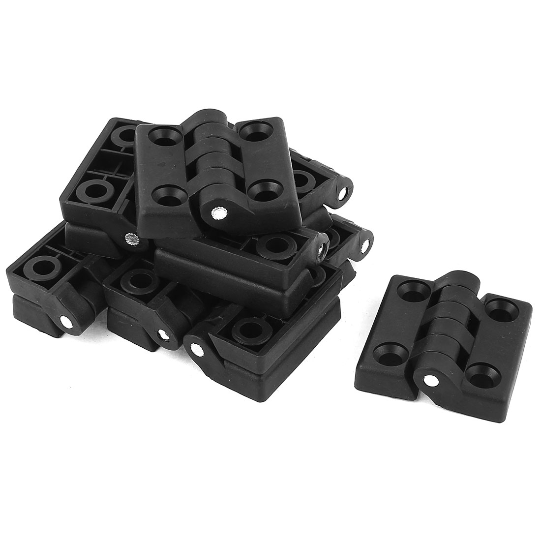 10 Pcs 6.8mm Hole Diameter 47 x 47mm Foldable Black Nylon Hinge
