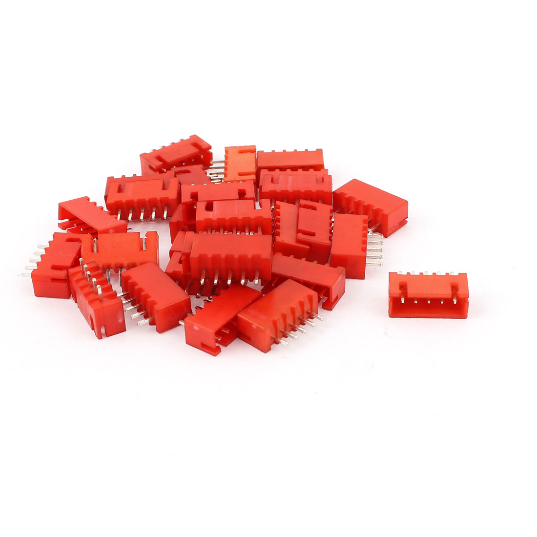 28Pcs 5 Pin 2mm Pitch Single Row Straight IDC Pin Headers Red