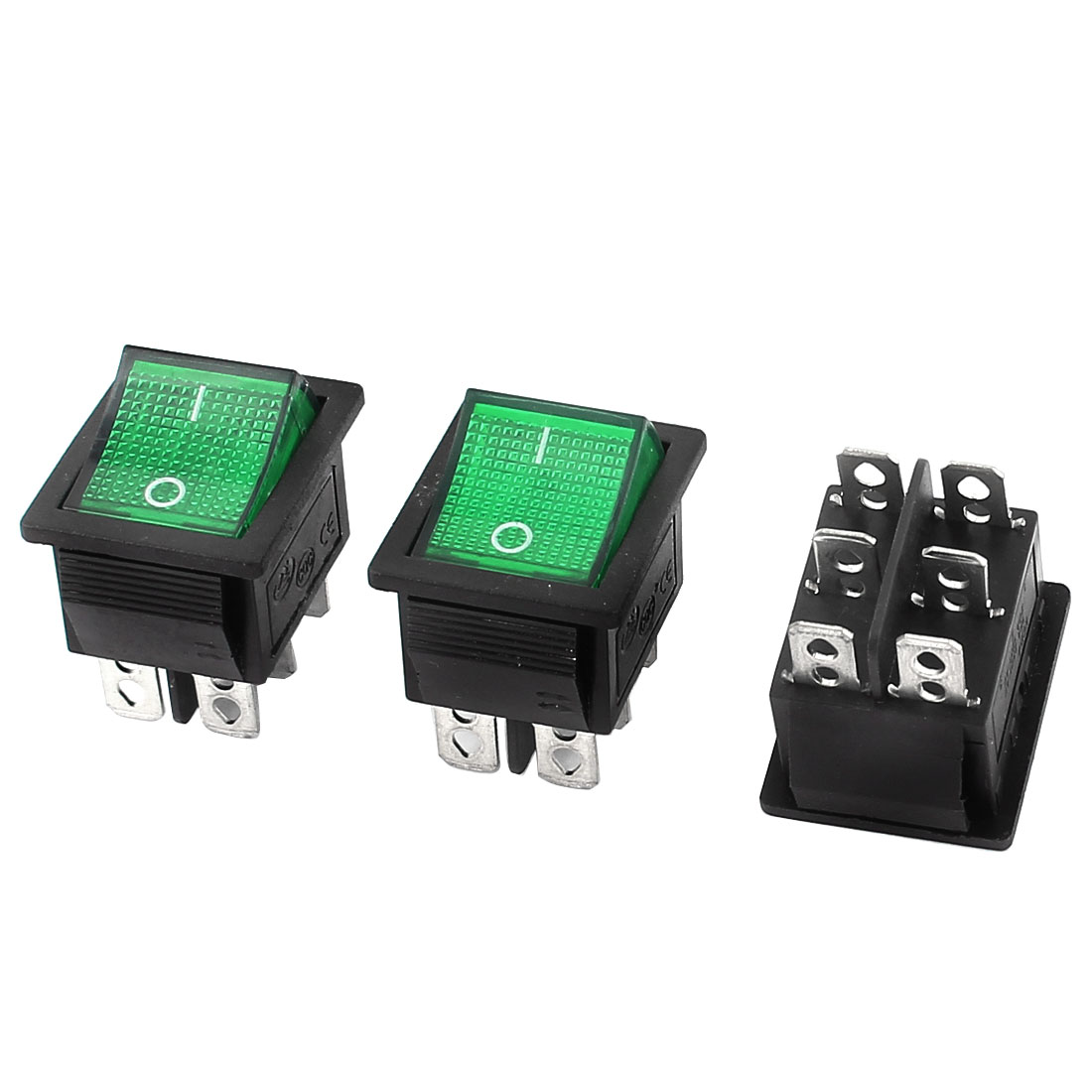 3 Pcs AC 125V 20A/250V 15A Green Light Illuminated 6 Pin DPDT ON/OFF Snap in Boat Rocker Switch
