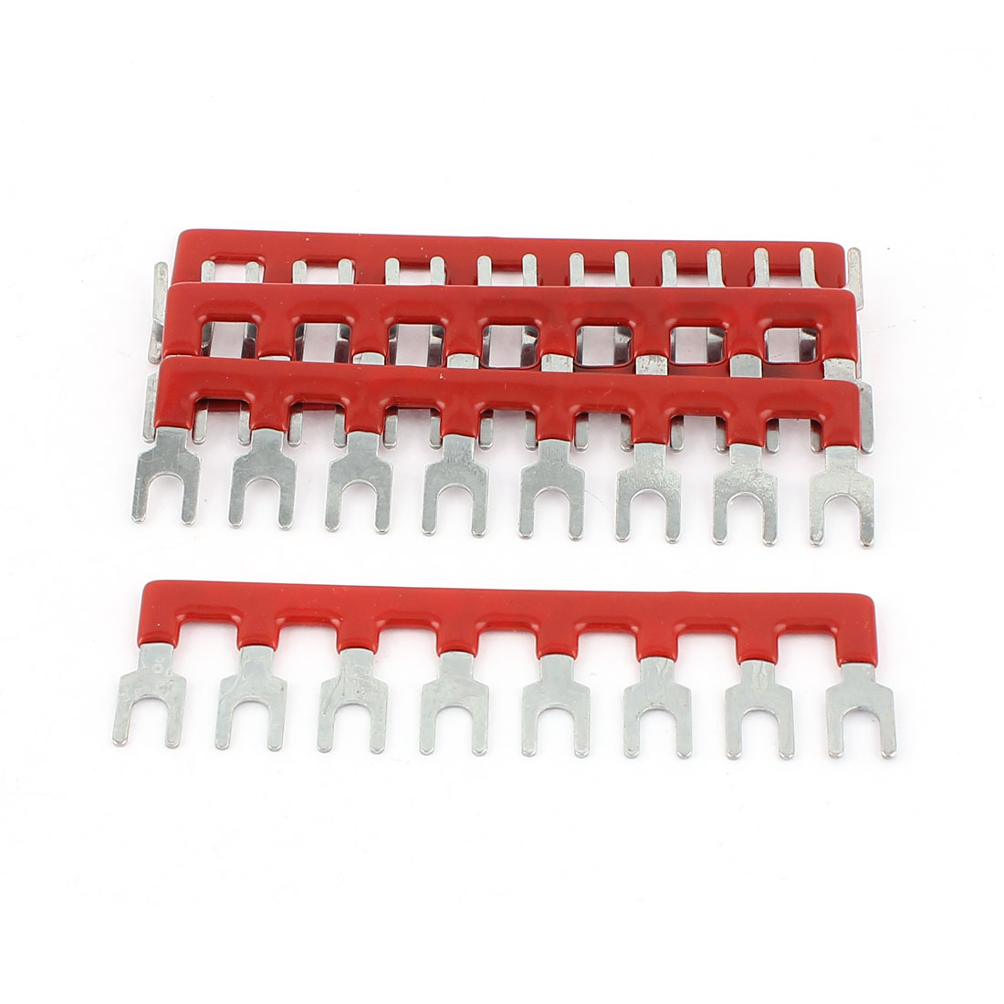 5 Pcs Fork Type 8 Postions Terminal Strip Jumper Block 400V 10A Red