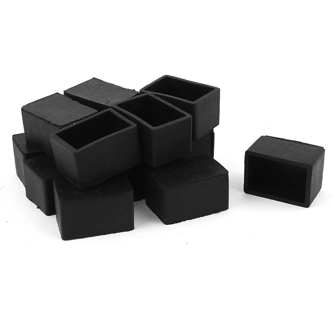 7 Pairs 25mm x 38mm Furniture Table Chair Leg Square Tofu Shape Feet Cover Cap Pads For Abrasion Black