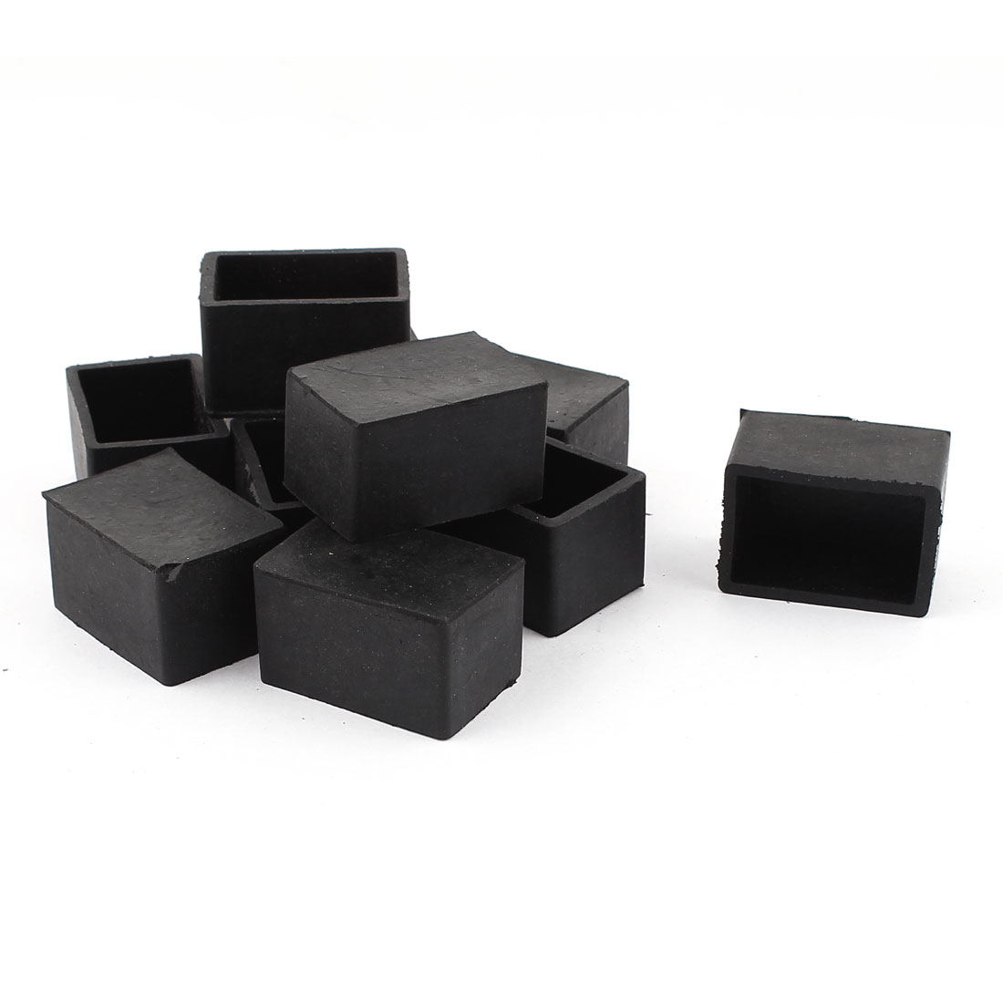 5 Pairs 25mm x 38mm Furniture Table Chair Leg Square Feet Cover Cap Pads For Abrasion Black