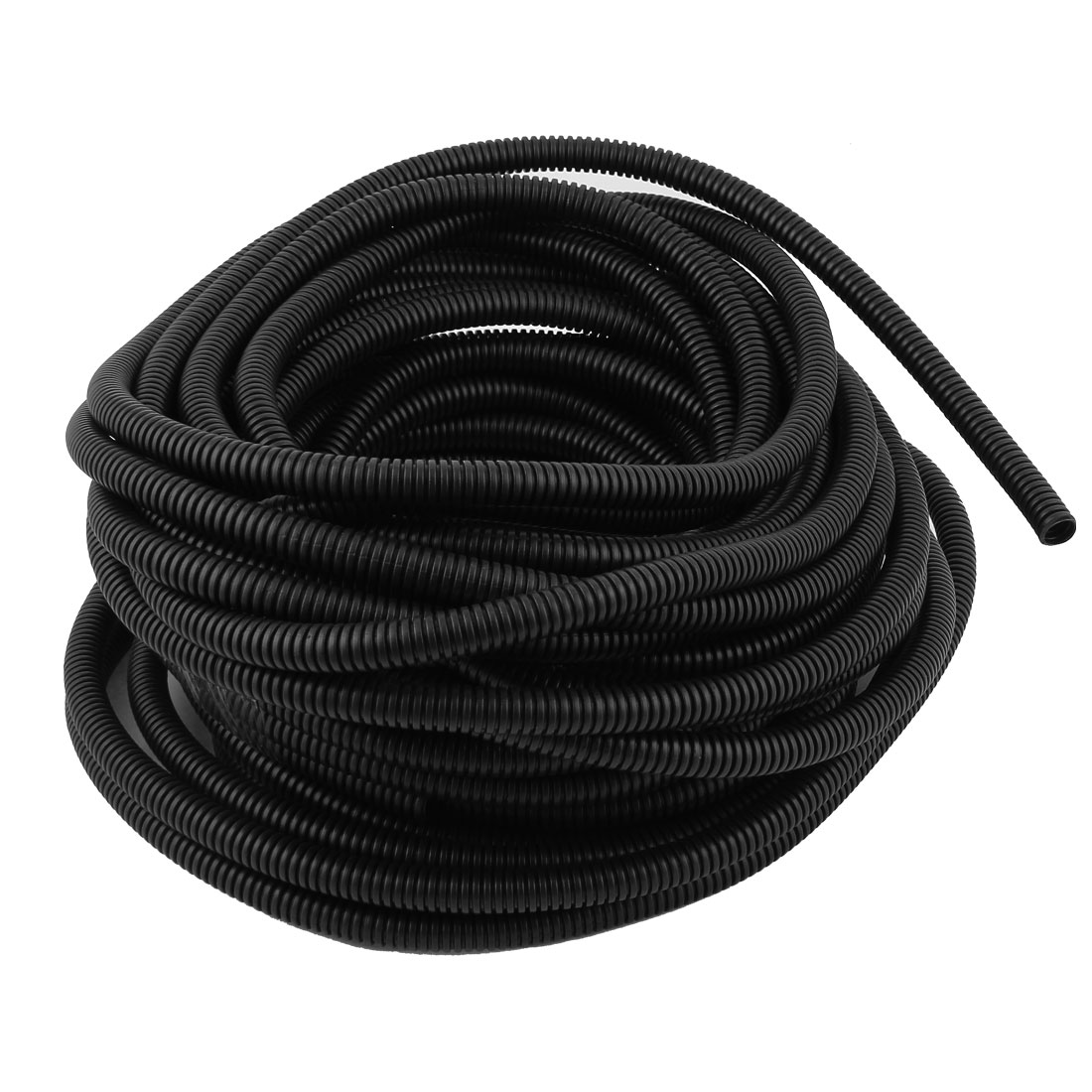 12 x 8 mm Flexible Corrugated Wire Hose Cover Conduit Corrugated Tube 71.52ft Black