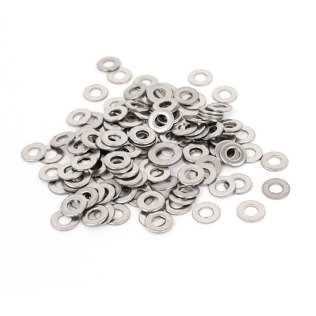 100Pcs M3x7mmx0.5mm Stainless Steel Metric Round Flat Washer for Bolt Screw