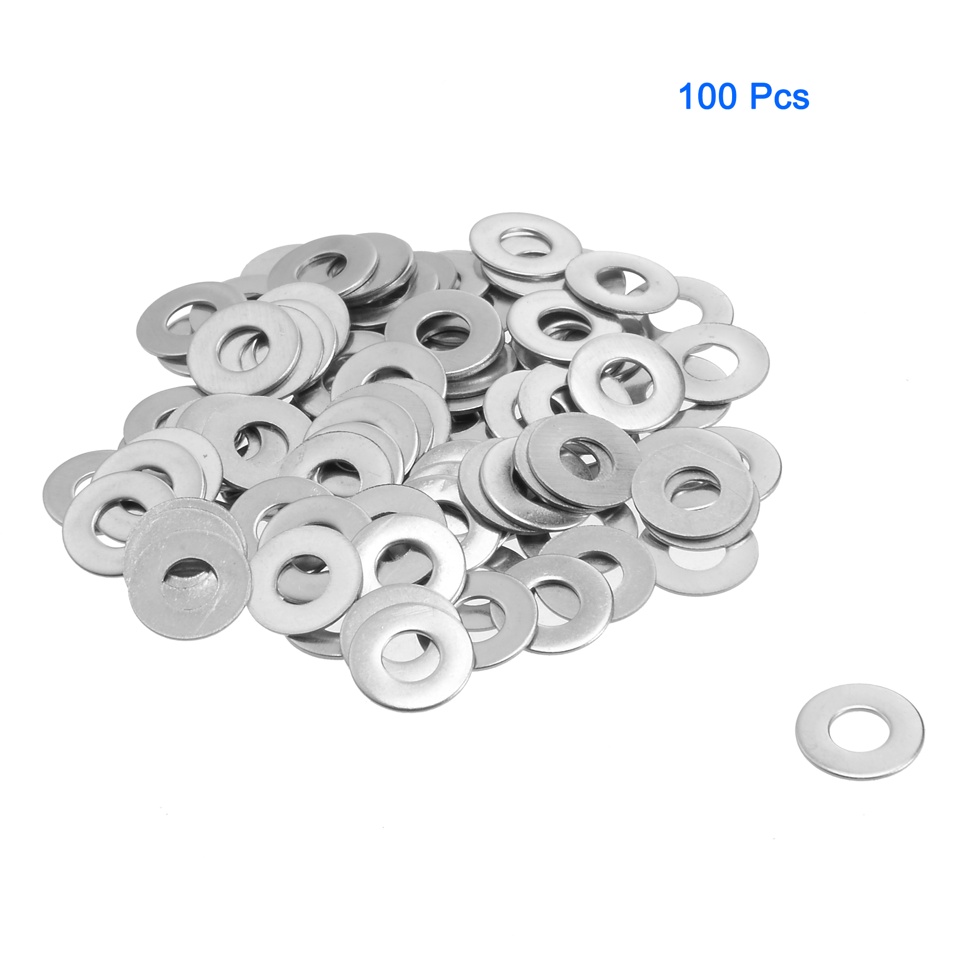 100Pcs M4x10mmx0.5mm Stainless Steel Metric Round Flat Washer for Bolt Screw