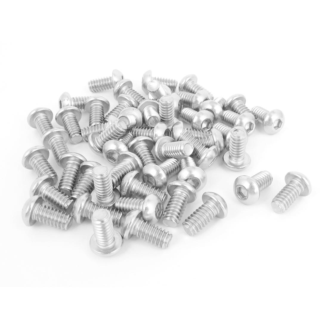 "50pcs 1/4""-20x1/2"" Stainless Steel Hex Socket Button Head Bolts Screws"