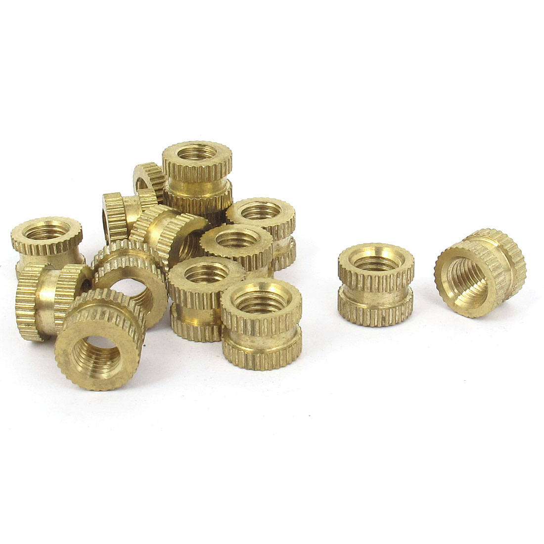 "15 Pcs 1/4""-28x7.5mm(L)x10mm(OD) Metric Threaded Brass Knurl Round Insert Nuts"