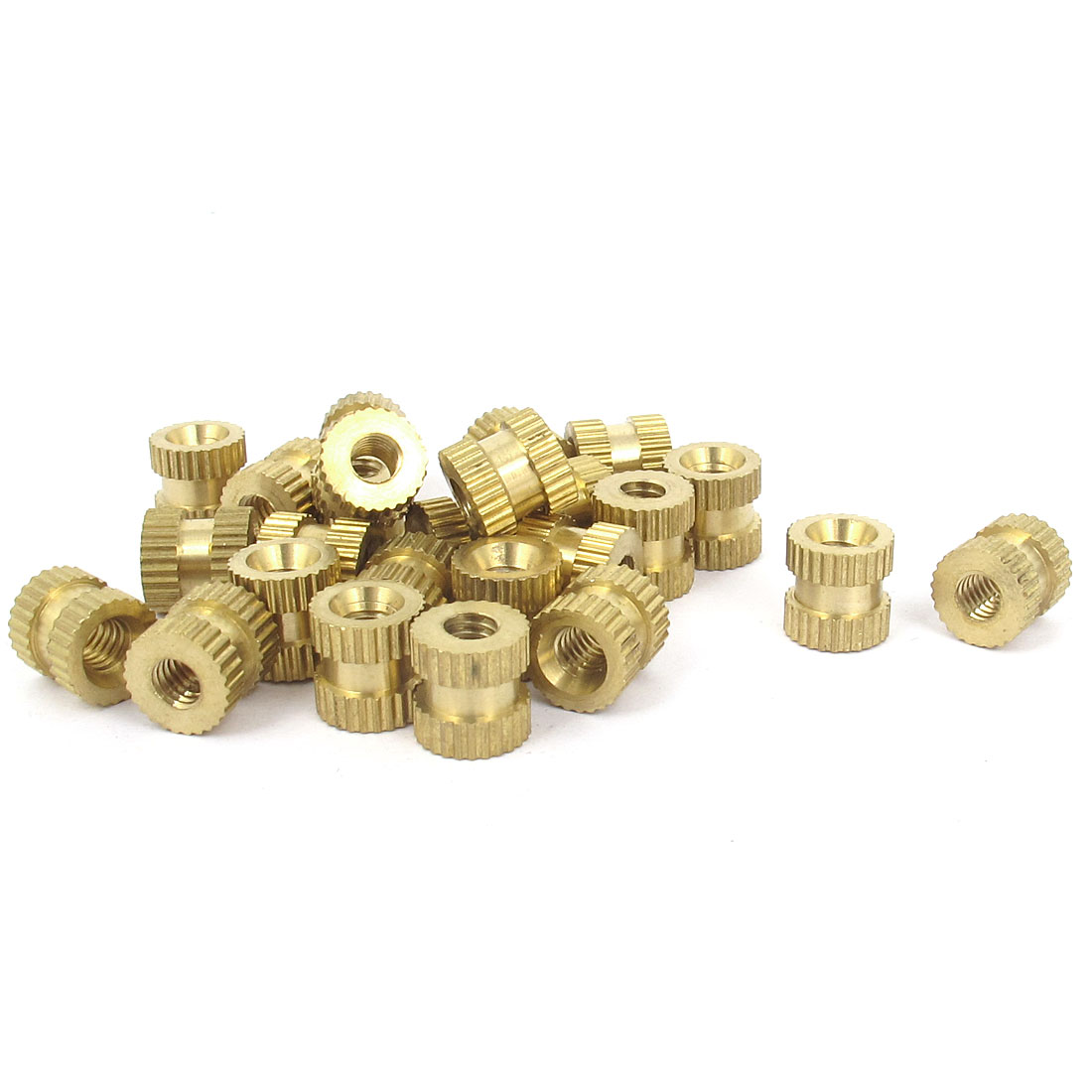 25 Pcs #8-32x8mm(L)x8mm(OD) Metric Threaded Brass Knurl Round Insert Nuts