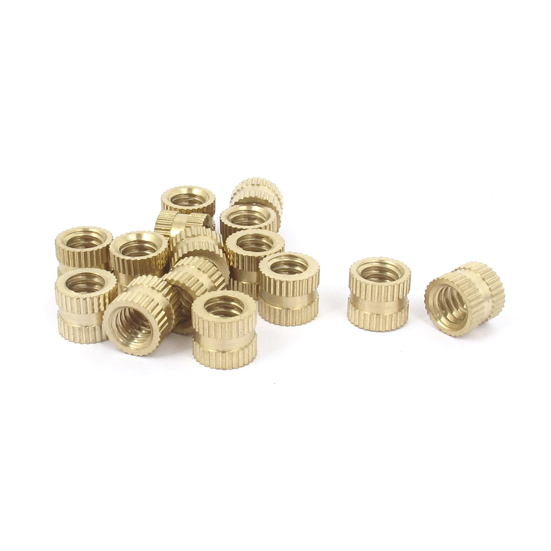 "15 Pcs 1/4""-20x8mm(L)x9mm(OD) Metric Threaded Brass Knurl Round Insert Nuts"