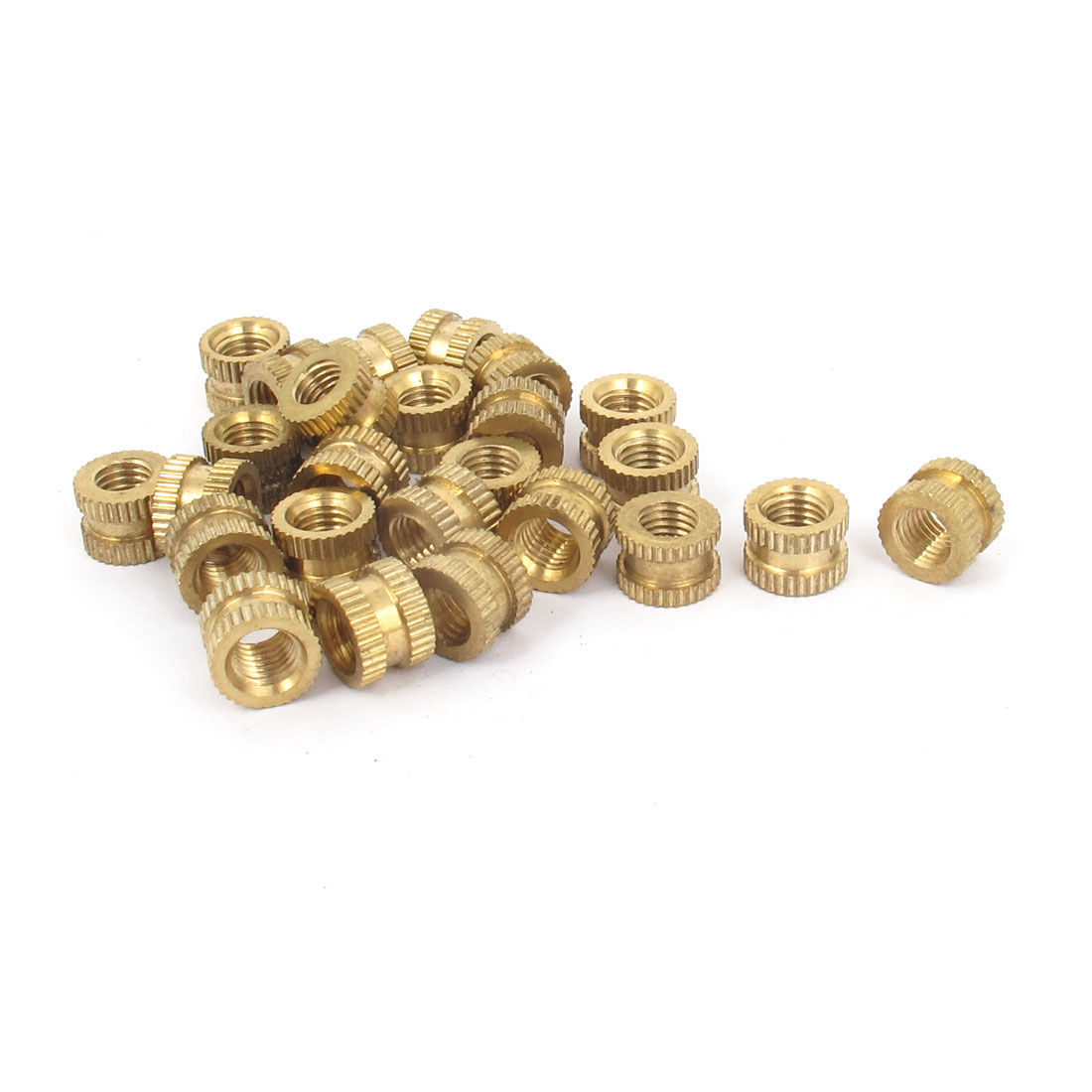 "25 Pcs 1/4""x7.5mm(L)x10mm(OD) Metric Threaded Brass Knurl Round Insert Nuts"