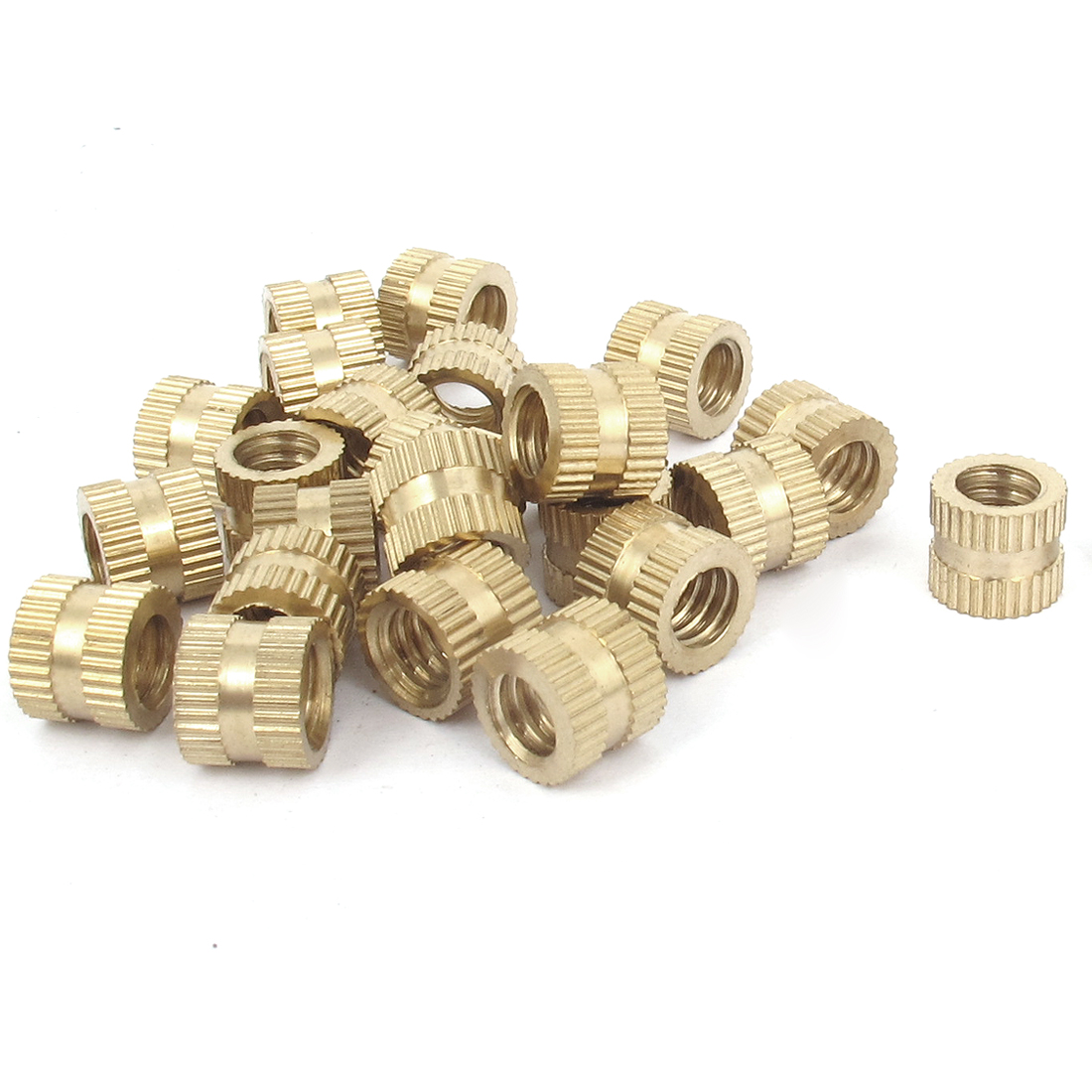 "25 Pcs 1/4""-20 Metric Threaded Brass Knurl Round Insert Nuts"