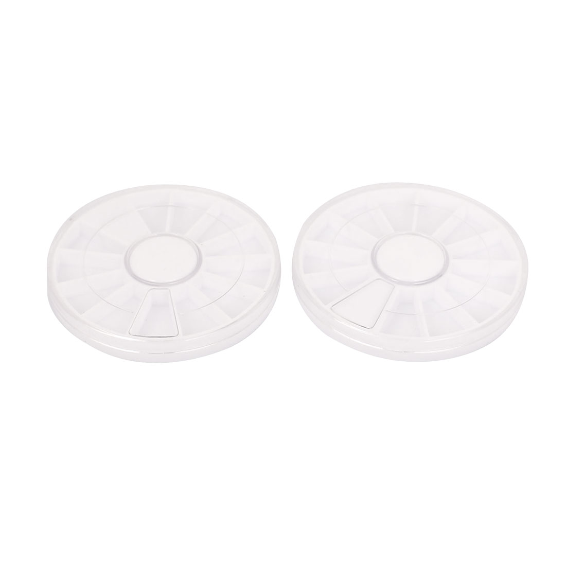 White Clear Plastic Round Rotatable 12 Components Storage Box Holder 2pcs