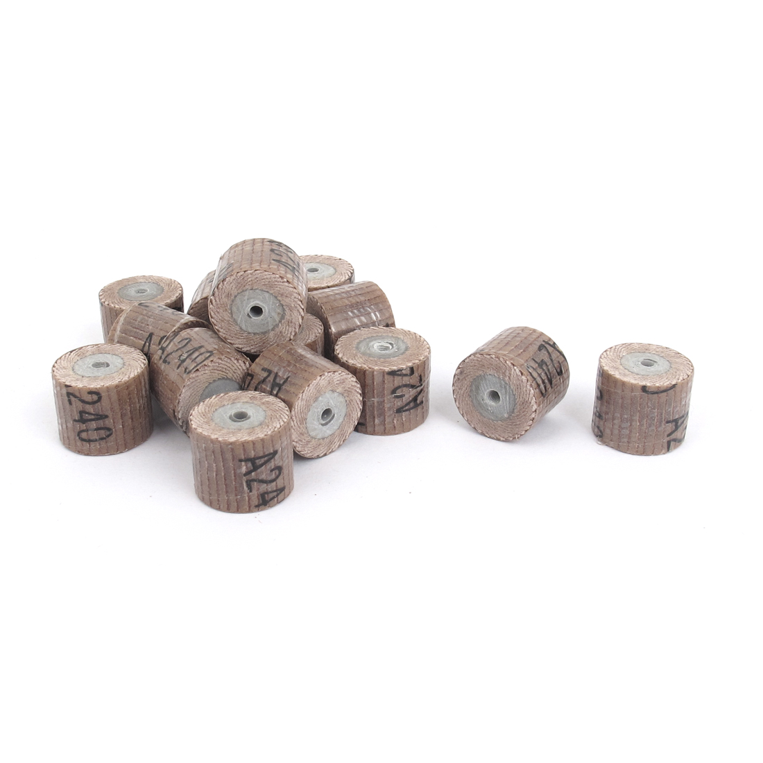 12Pcs 240 Grit 3mm Mandrel Flap Wheel Grinding Heads 15mmx14mm for Rotary Tools