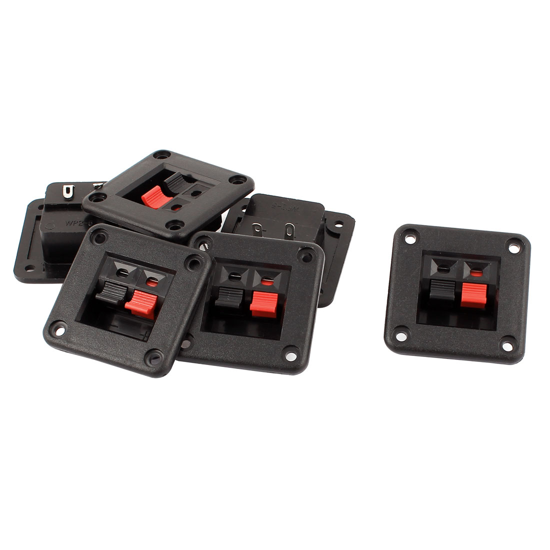 6 Pcs SPST Latching Electricial Push Button Switch Black Red