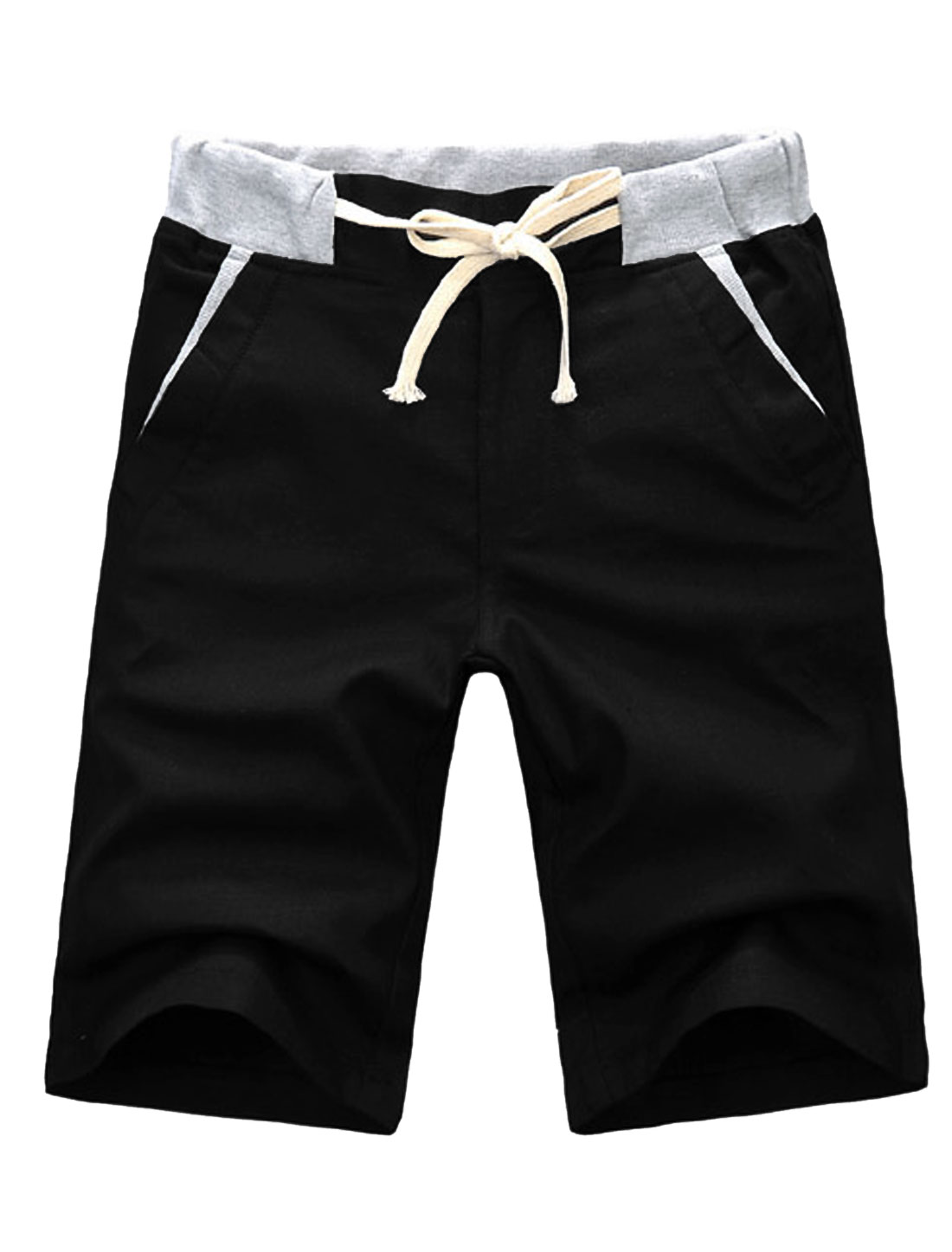 Men Mid Rise Drawstring Waist Front Pockets Linen Shorts Black W32