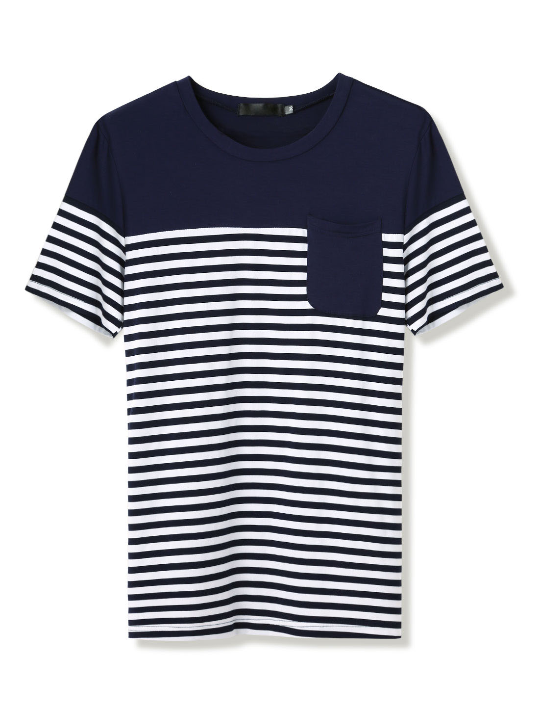 Men Short Sleeve Patch Pocket Slim Fit Casual Striped Tee Shirt Navy Blue M